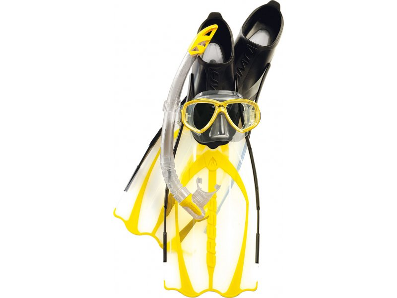 Набор Маска Perla + Трубка Gamma + Ласты Pluma, Цвет Желтый Cressi