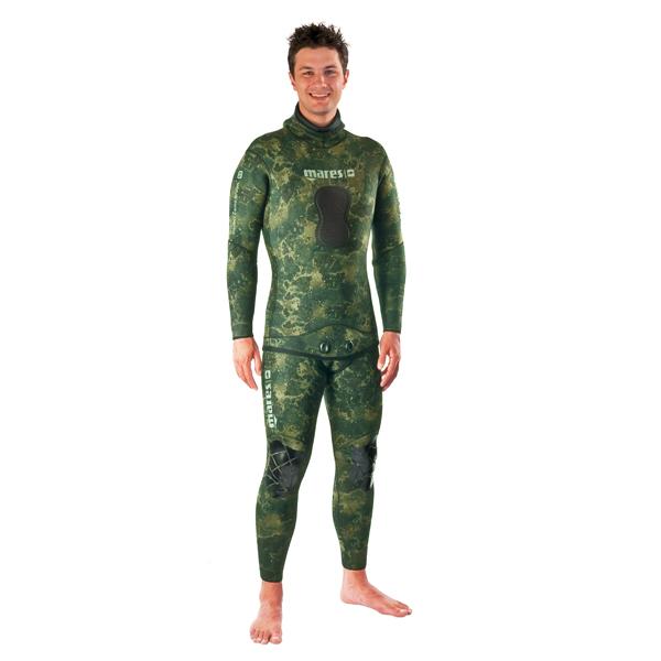 Штаны Короткие Гидрокостюма Для Подводной Охоты Mares Instinct 55 Camo, 5 Мм, С Открытой Порой Внутри, Цвет Зеленый Камуфляж