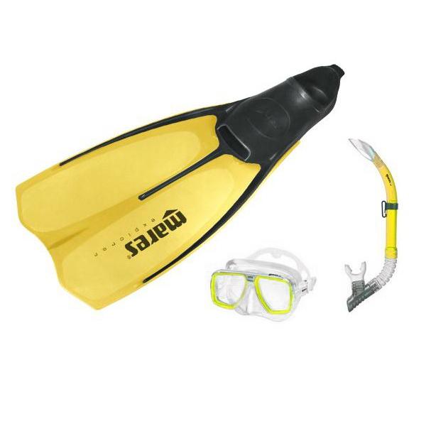 Набор для плавания (ласты, маска и трубка) MARES EXPLORER цвет желтый, взрослых, 410711046YL  - купить со скидкой