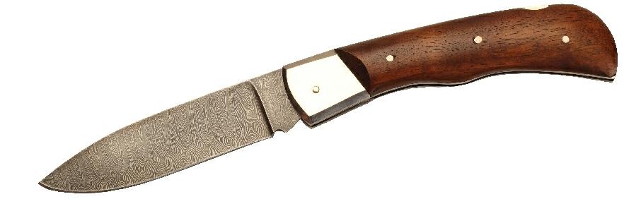 Нож Складной Альбатрос Пума, 1 Предмет (Дамасск, Орех) С Фиксатором