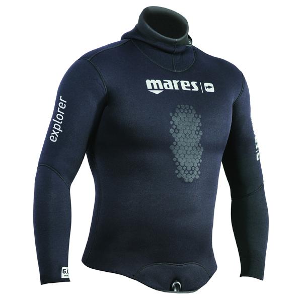 Куртка гидрокостюма для подводной охоты MARES EXPLORER 70, 7 мм, с открытой порой внутри, цвет черный, 422472S3  - купить со скидкой