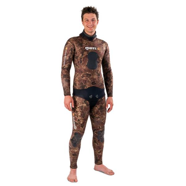 Штаны Короткие Гидрокостюма Для Подводной Охоты Mares Instinct Camo 35 Br, 3 Мм, С Открытой Порой Внутри, Цвет Коричневый Камуфляж