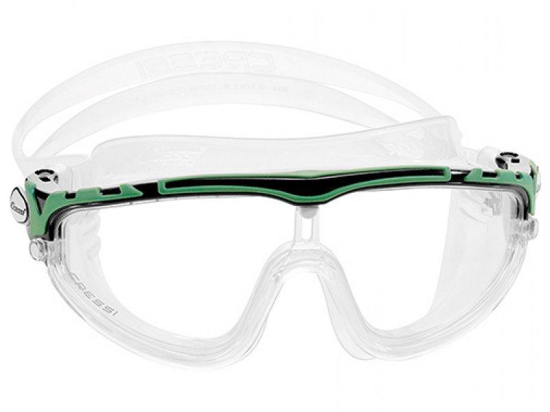 Очки Cressi Skylight Прозрачный Силикон/ Черно Зеленая Рамка/прозрачные Линзы