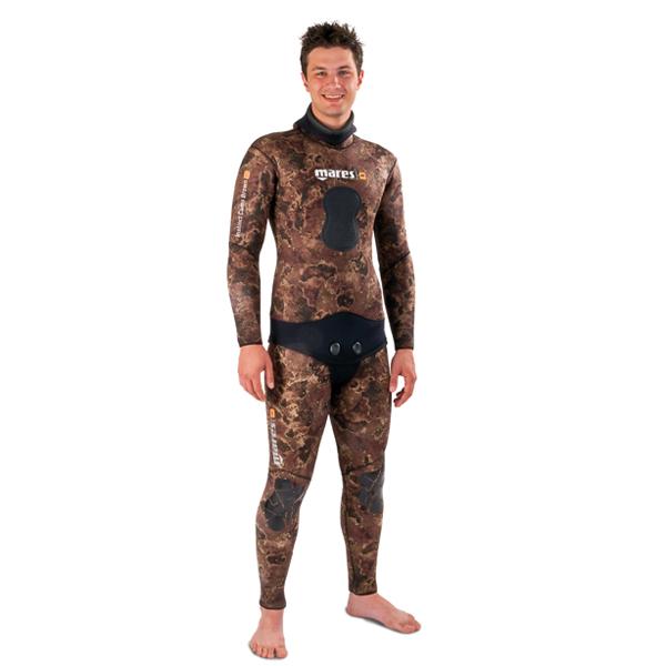 Куртка Гидрокостюма Для Подводной Охоты Mares Instinct 35 Camo Br, 3 Мм, С Открытой Порой Внутри, Цвет Коричневый Камуфляж